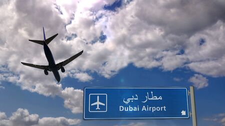 Airplane silhouette landing in Dubai, United Arab Emirates. City arrival with international airport direction signboard and blue sky in background. Travel, trip and transport concept 3d illustration.