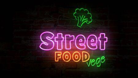 Street food vege neon symbol on brick wall. Light bulbs with vegetarian food and green leaf symbol 3d illustration. Imagens