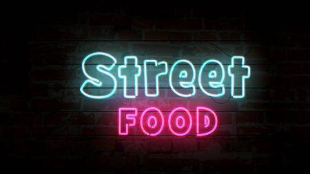 Street food neon symbol on brick wall. Light bulbs with food symbol 3d illustration.
