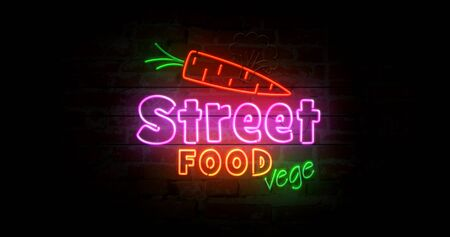 Street food vege neon symbol on brick wall. Light bulbs with vegetarian food and green leaf symbol 3d illustration. Фото со стока