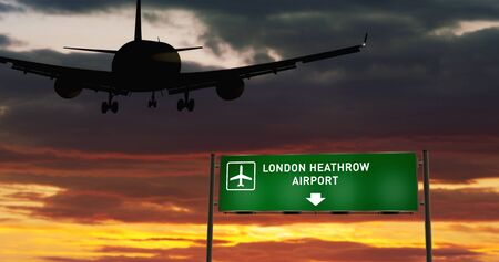 Airplane silhouette landing in London Heathrow, England, Great Britain. City arrival with airport direction signboard and sunset in background. Trip and transportation concept 3d illustration.