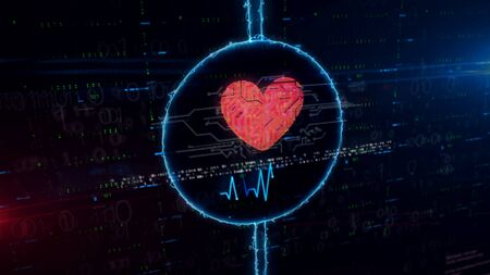 Cybernetic heart symbol hologram in electric circle on digital background. Modern concept of love, cyber dating, romantic, health, science and cardiology with light and glitch effect 3d illustration.