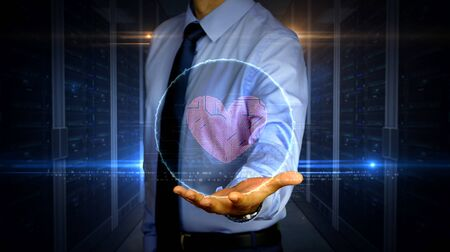 Man with dynamic cybernetic heart symbol hologram on hand. Businessman and futuristic concept of love, cyber dating, romantic, health, science and cardiology with glitch effect.