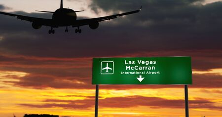 Airplane silhouette landing in Las Vegas, McCarran, Nevada, United States. City arrival with airport direction signboard and sunset in background. Trip and transportation concept 3d illustration.
