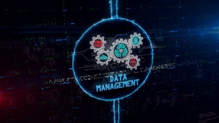 Data management symbol hologram in dynamic electric circle on digital background. Modern concept of Files storage, cyber security, computer and digital technology with glitch effect 3d illustration. Фото со стока