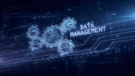 Data management symbol hologram 3d animation. Modern concept of files storage, cyber security, computer using and digital technology on blue digital background 3d illustration.