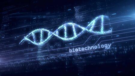 Biotechnology DNA helix hologram. Modern concept of bioinformatics, science, biology, chemistry and research on blue digital background 3d illustration. Imagens