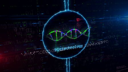 Biotechnology DNA helix hologram in dynamic electric circle on digital background. Modern concept of bioinformatics, science, biology, chemistry and research  3d illustration.