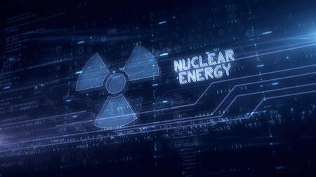 Nuclear energy symbol hologram 3d illustration. Modern concept of science, danger icon and warning on blue digital background. Stock fotó