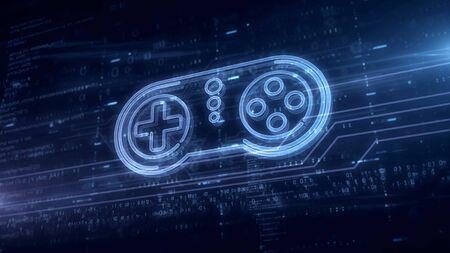 Game pad symbol hologram 3d illustration. Modern concept of gaming, 5G, play and online game on blue digital background. Foto de archivo - 129951700