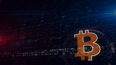 Bitcoin symbol lower thirds. 3d illustration digital background with space for contents. Abstract futuristic concept of blockchain technology, crypto currency, digital payment and virtual money.