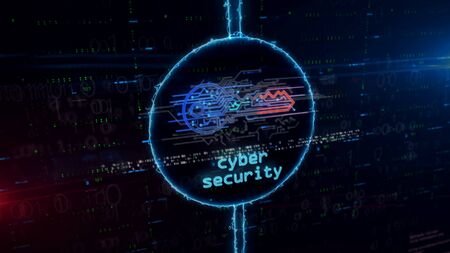 Cyber safety with key symbol hologram in dynamic electric circle on digital background. Modern concept of computer security, encryption and password protection with light and glitch effect 3d illustra