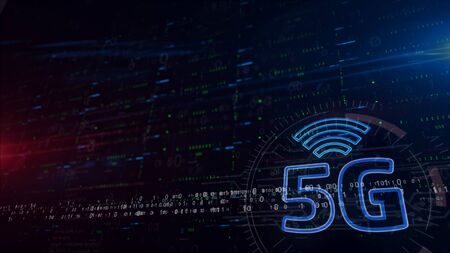 5G mobile communication 3d illustration. Digital background with space for contents. Abstract futuristic concept of wireless network, data transmition and iot.