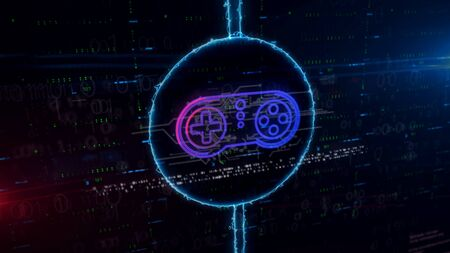 Game pad symbol hologram in dynamic electric circle on digital background. Modern concept of gaming, 5G, play and online game with light and glitch effect 3d illustration. 写真素材 - 129960610