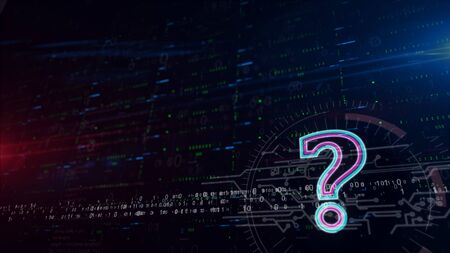 Question mark symbol 3d illustration. Digital background with space for contents. Abstract futuristic concept of help, information, knowledge, faq, searching and education.