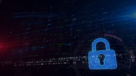 Cyber security and padlock symbol lower thirds. 3d illustration digital background with space for contents. Abstract futuristic concept of computer protection, firewall and internet safety.