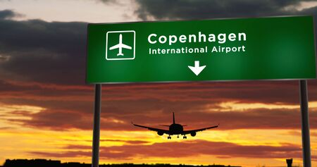 Airplane silhouette landing in Copenhagen, Denmark, Europe. City arrival with airport direction signboard and sunset in background. Trip and transportation concept 3d illustration.