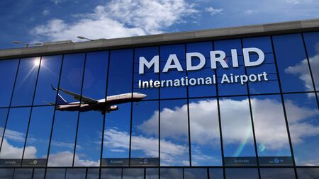 Jet aircraft landing at Madrid, Espana, Spain, Europe 3D rendering illustration. Arrival in the city with the glass airport terminal and reflection of the plane. Travel, business, tourism concept.