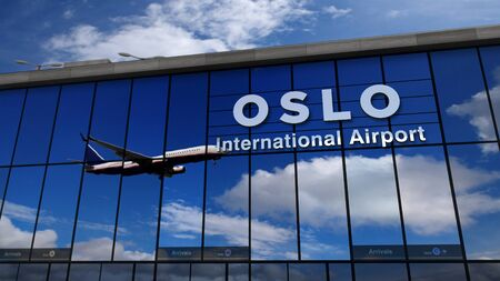 Jet aircraft landing at Oslo, Norway 3D rendering illustration. Arrival in the city with the glass airport terminal and reflection of the plane. Travel, business, tourism and transport concept.