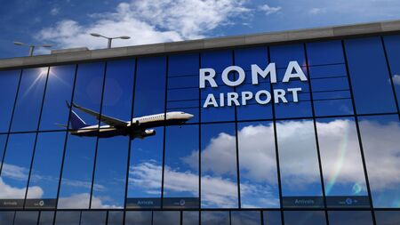 Jet aircraft landing at Roma, Rome, Italy, 3D rendering illustration. Arrival in the city with the glass airport terminal and reflection of the plane. Travel, business, tourism and transport concept.