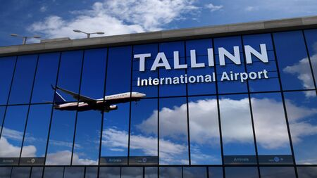 Jet aircraft landing at Tallinn, Estonia 3D rendering illustration. Arrival in the city with the glass airport terminal and reflection of the plane. Travel, business, tourism and transport concept.