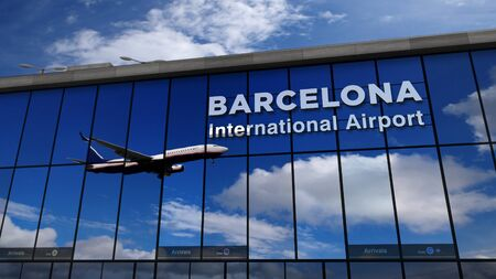 Jet aircraft landing at Barcelona, Spain, Catalonia 3D rendering illustration. Arrival in the city with the glass airport terminal and reflection of the plane. Travel, business, tourism and transport.