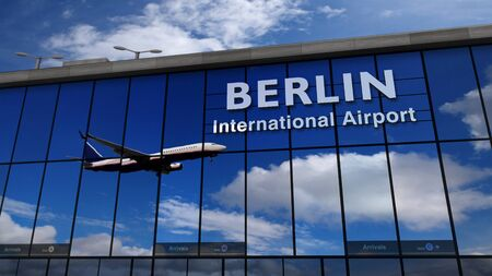 Jet aircraft landing at Berlin, Germany, Europe 3D rendering illustration. Arrival in the city with the glass airport terminal and reflection of the plane. Travel, business, tourism and transport.