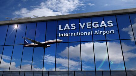 Jet aircraft landing at Las Vegas, Nevada, USA, America 3D rendering illustration. Arrival in the city with the glass airport terminal and reflection of the plane. Travel, business, tourism concept.