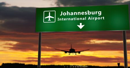 Airplane silhouette landing in Johannesburg, South Africa, RSA. City arrival with airport direction signboard and sunset in background. Trip and transportation concept 3d illustration. Stock Illustration - 131024185