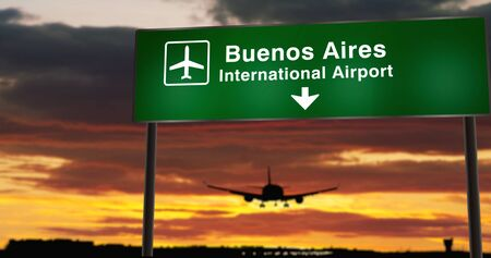 Airplane silhouette landing in Buenos Aires, Argentina. City arrival with airport direction signboard and sunset in background. Trip and transportation concept 3d illustration. 写真素材