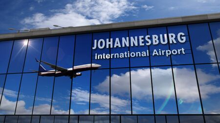Jet aircraft landing at Johannesburg, South Africa, RSA 3D rendering illustration. Arrival in the city with the glass airport terminal and reflection of the plane. Travel, business, tourism and transp