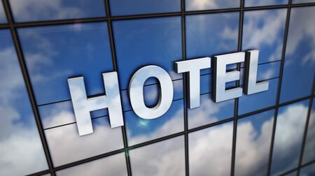 Hotel sign on glass building. Mirrored sky and city on modern facade. Travel concept in 3D rendering illustration.