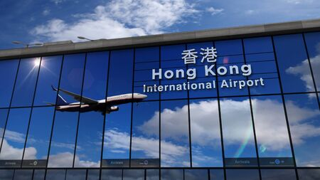 Jet aircraft landing at Hong Kong, China 3D rendering illustration. Arrival in the city with the glass airport terminal and reflection of the plane. Travel, business, tourism and transport concept. Stock Photo