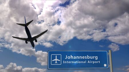 Airplane silhouette landing in Johannesburg, South Africa, RSA. City arrival with international airport direction signboard and blue sky in background. Travel, trip and transport concept 3d illustration.