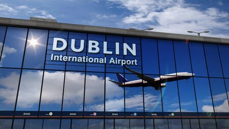 Jet aircraft landing at Dublin, Ireland 3D rendering illustration. Arrival in the city with the glass airport terminal and reflection of the plane. Travel, business, tourism and transport concept.