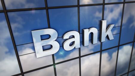 Bank sign on glass building. Mirrored sky and city on modern facade. Business and finance concept in 3D rendering illustration. 写真素材