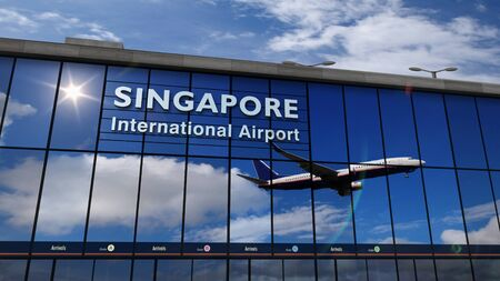 Jet aircraft landing at Singapore 3D rendering illustration. Arrival in the city with the glass airport terminal and reflection of the plane. Travel, business, tourism and transport concept.