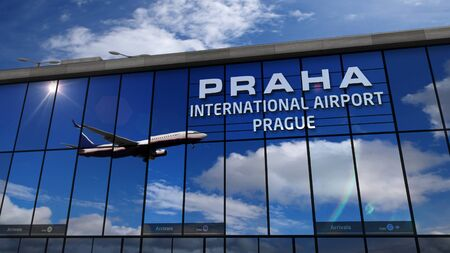 Jet aircraft landing at Praha, Prague, Czech Republic 3D rendering illustration. Arrival in the city with the glass airport terminal and reflection of the plane. Travel, business and tourism.