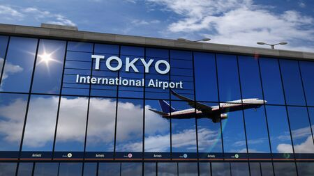 Jet aircraft landing at Tokyo, Japan 3D rendering illustration. Arrival in the city with the glass airport terminal and reflection of the plane. Travel, business, tourism and transport concept.