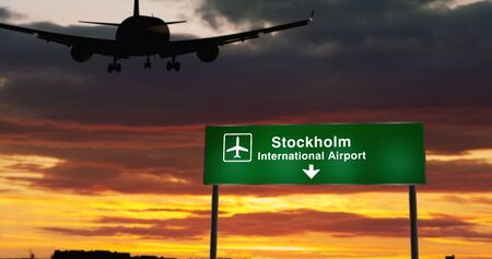 Airplane silhouette landing in Stockholm, Sweden. City arrival with airport direction signboard and sunset in background. Trip and transportation concept 3d illustration.
