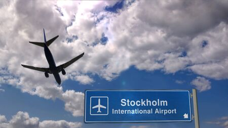 Airplane silhouette landing in Stockholm, Sweden. City arrival with international airport direction signboard and blue sky in background. Travel, trip and transport concept 3d illustration. 写真素材