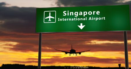 Airplane silhouette landing in Singapore. City arrival with airport direction signboard and sunset in background. Trip and transportation concept 3d illustration.