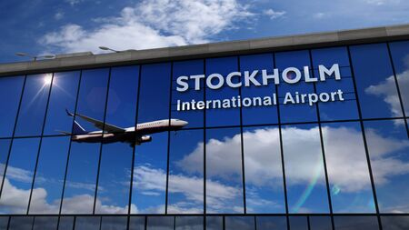 Jet aircraft landing at Stockholm, Sweden 3D rendering illustration. Arrival in the city with the glass airport terminal and reflection of the plane. Travel, business, tourism and transport concept.