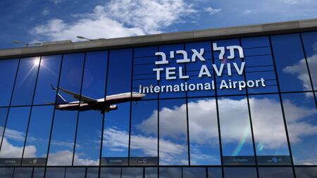 Jet aircraft landing at Tel Aviv, Israel 3D rendering illustration. Arrival in the city with the glass airport terminal and reflection of the plane. Travel, business, tourism and transport concept.