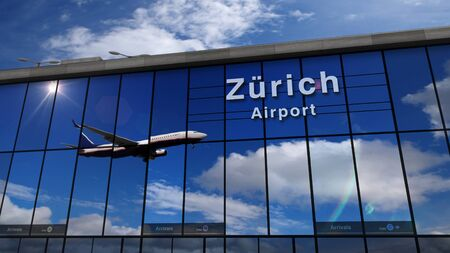 Jet aircraft landing at Zurich, Zürich, Switzerland 3D rendering illustration. Arrival in the city with the glass airport terminal and reflection of the plane. Travel, business, tourism and transpo