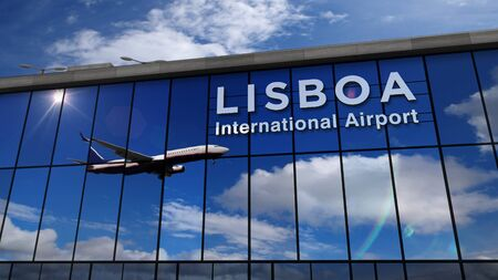 Jet aircraft landing at Lisboa, Portugal 3D rendering illustration. Arrival in the city with the glass airport terminal and reflection of the plane. Travel, business, tourism and transport concept.