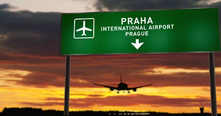 Airplane silhouette landing in Praha, Prague, Czech, Czech Republic. City arrival with airport direction signboard and sunset in background. Trip and transportation concept 3d illustration.