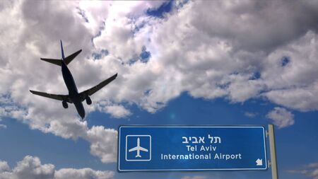 Airplane silhouette landing in Tel Aviv, Israel. City arrival with international airport direction signboard and blue sky in background. Travel, trip and transport concept 3d illustration.