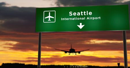 Airplane silhouette landing in Seattle, Washington, United States. City arrival with airport direction signboard and sunset in background. Trip and transportation concept 3d illustration.