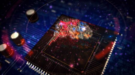 Machine learning futuristic 3D rendering illustration. Concept of cybernetic brain, artificial intelligence and computer deep learn. Abstract digital sign with circuit board and processor on background. Stock Photo